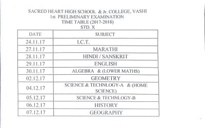 1st Prelims Timetable – STD 10 (2017-18)